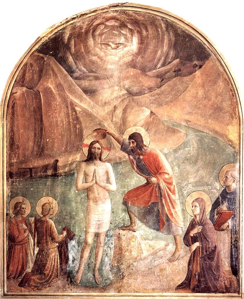フラ・アンジェリコ「ヨハネによるキリストの洗礼」(サン・マルコ修道院)