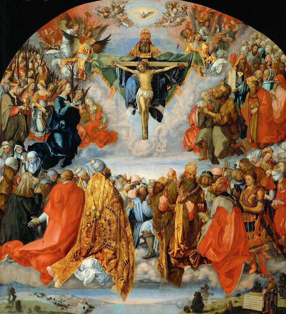 アルブレヒト・デューラー「聖三位一体の礼拝」(ランダウワー祭壇画)、1471年、ウィーン美術史美術館所蔵