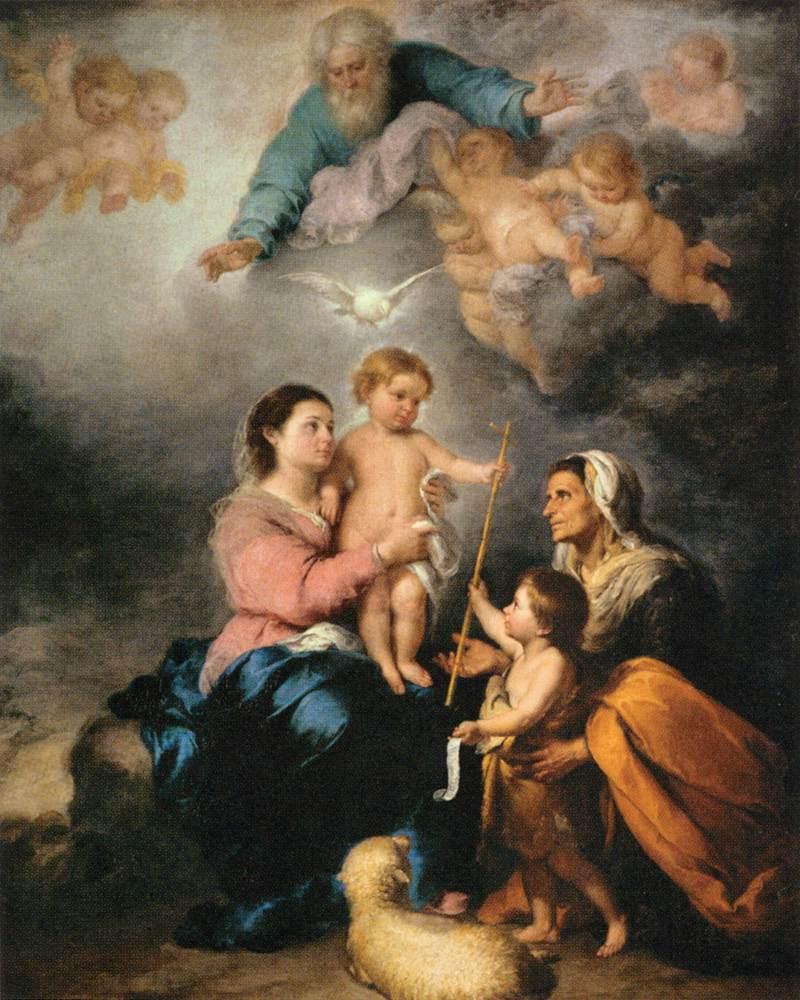 バルトロメ・エストロバン・ムリーニョ「聖家族(セビリアの聖母)」、1665―1670年、ルーブル美術館所蔵