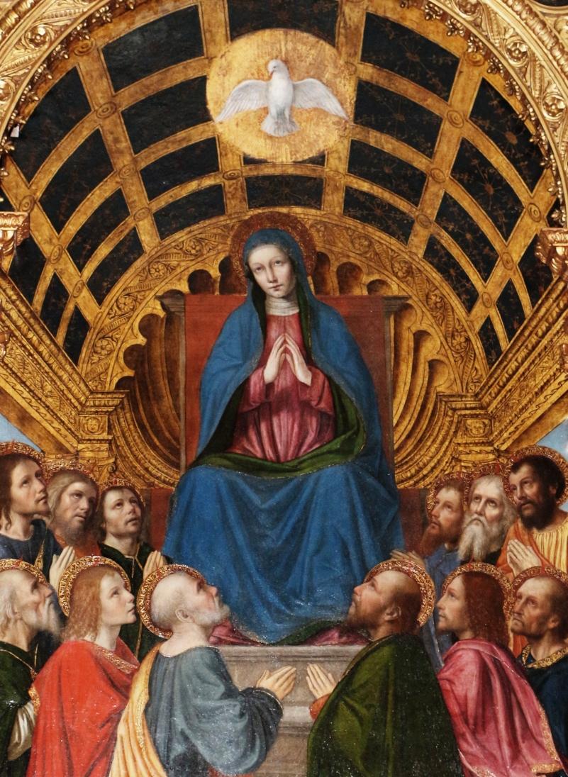 ベルゴニョーネ「聖母と使徒たちへの聖霊降臨」、1508年、サント・スピロ教会(ベルガモ)
