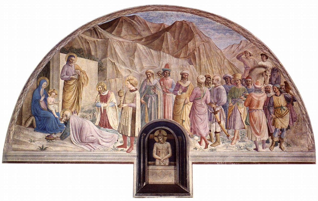 フラ・アンジェリコ「東方三博士の礼拝」、1437―1446年、サンマルコ修道院(フィレンツェ)