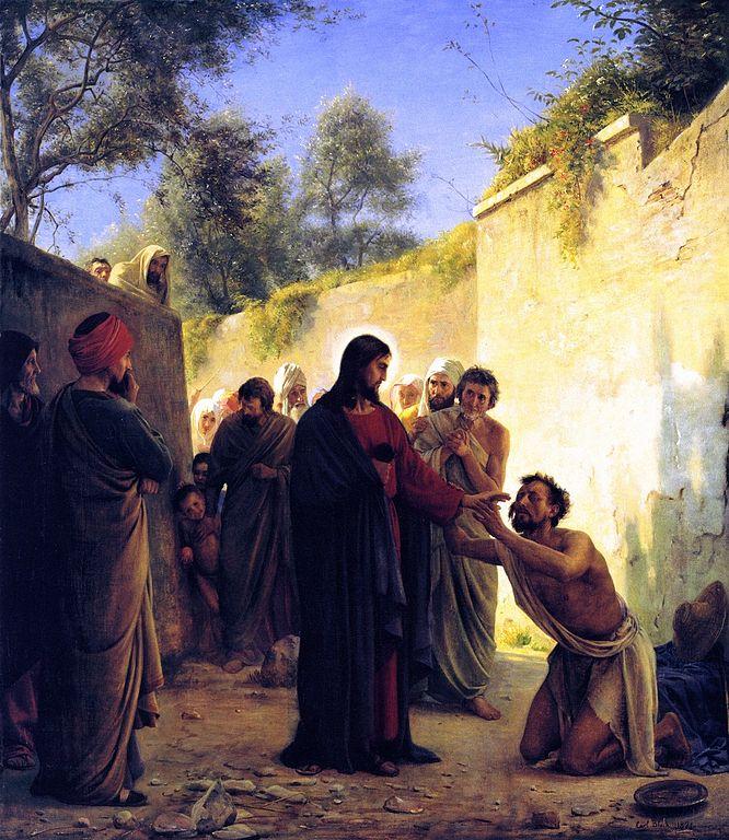 カール・ブロッホ「盲人の癒やし」、1871年、デンマーク国立歴史博物館所蔵