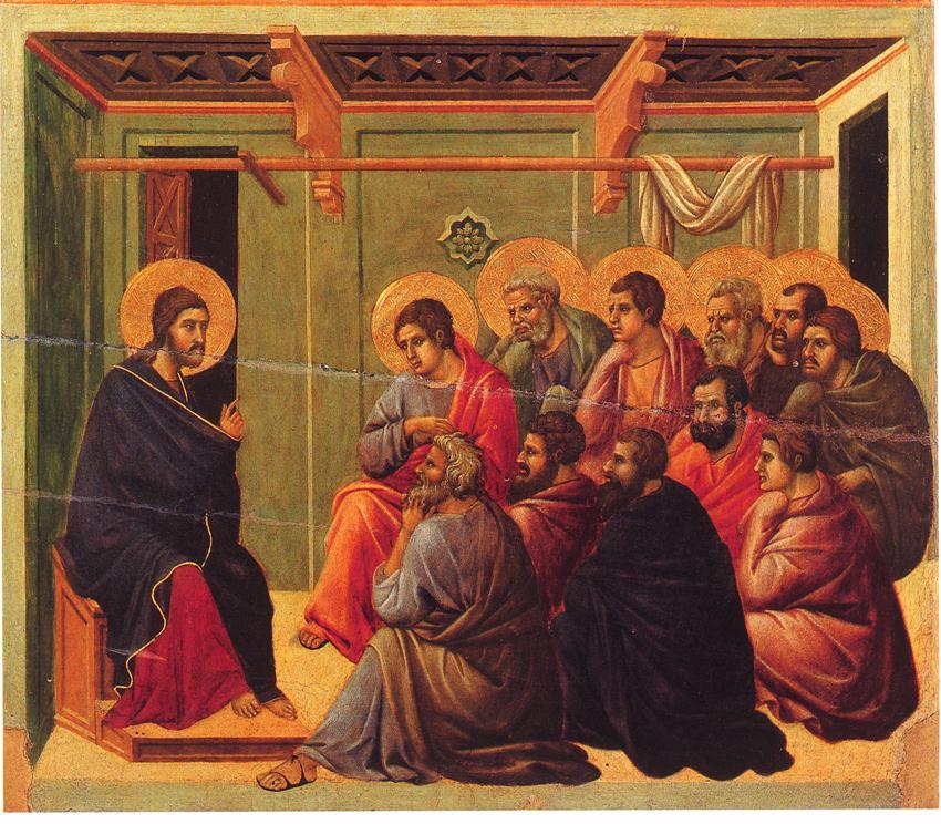 ドゥッチョ・ディ・ブオニンセーニャ  「使徒たちに別れを告げるキリスト」、1308―1311年、ドゥオーモ(シエナ大聖堂)美術館所蔵
