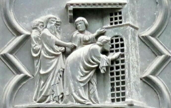 アンドレア・ピサーノ「弟子たちの訪問」、1330ー36年、フィレンツェ洗礼堂南扉