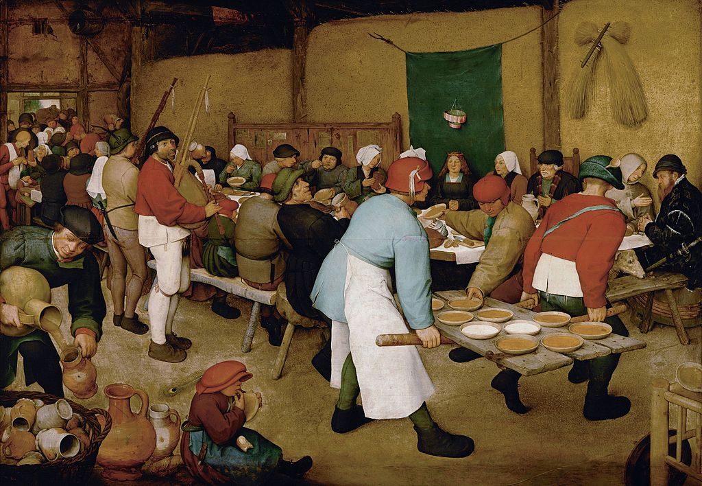 ピーテル・ブリューゲル「農民の婚宴」、1567年、ウィーン美術史美術館所蔵