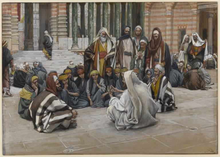 ジェームズ・ティソ「イエス、宝物庫のそばで話す」、1886―1894年、ブルックリン美術館所蔵