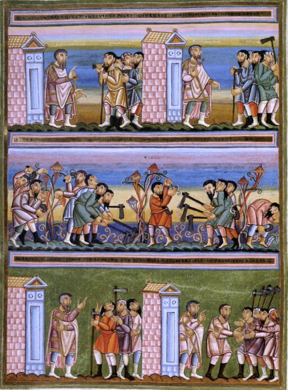 ぶどう園の労働者のたとえ話(『エヒテルナッハの黄金福音書』、11世紀)
