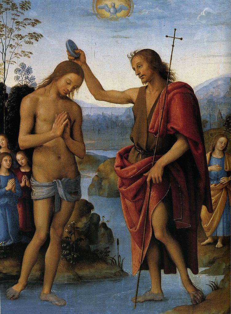 ピエトロ・ペルジーノ「キリストの洗礼」、1498/1500年、ウィーン美術史美術館所蔵