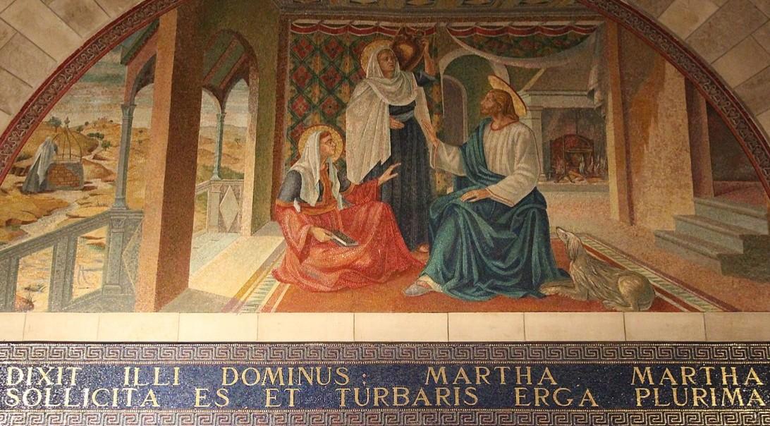「マルタとマリアの家のイエス」、ベタニア聖ラザロ教会フレスコ画