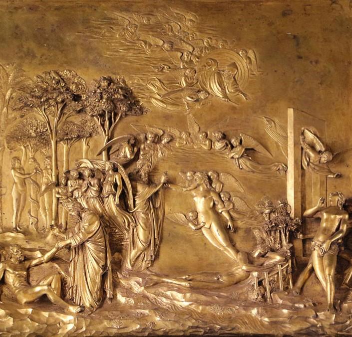 ロレンツォ・ギベルティ『天国への門』、1425-52 年 、サン・ジョヴァンニ洗礼堂(フィレンツェ)
