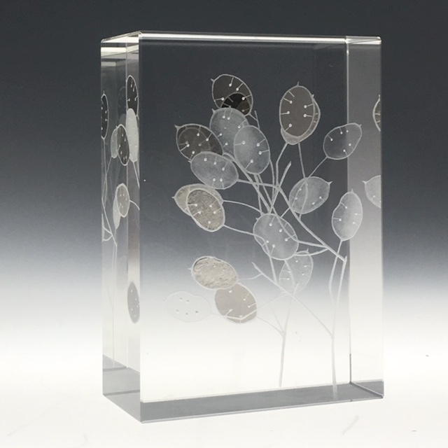 """Honesty""12x8.8x4cms optical crystal, palladium &Platinum leaf. caa gallery"