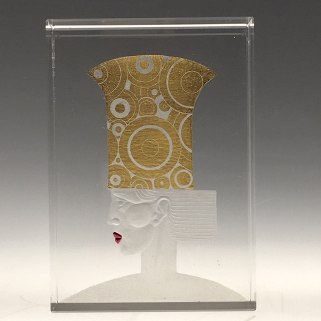 """Thinking cap""12x8.8x4cms optical crystal, 24ct gold leaf. caa gallery"