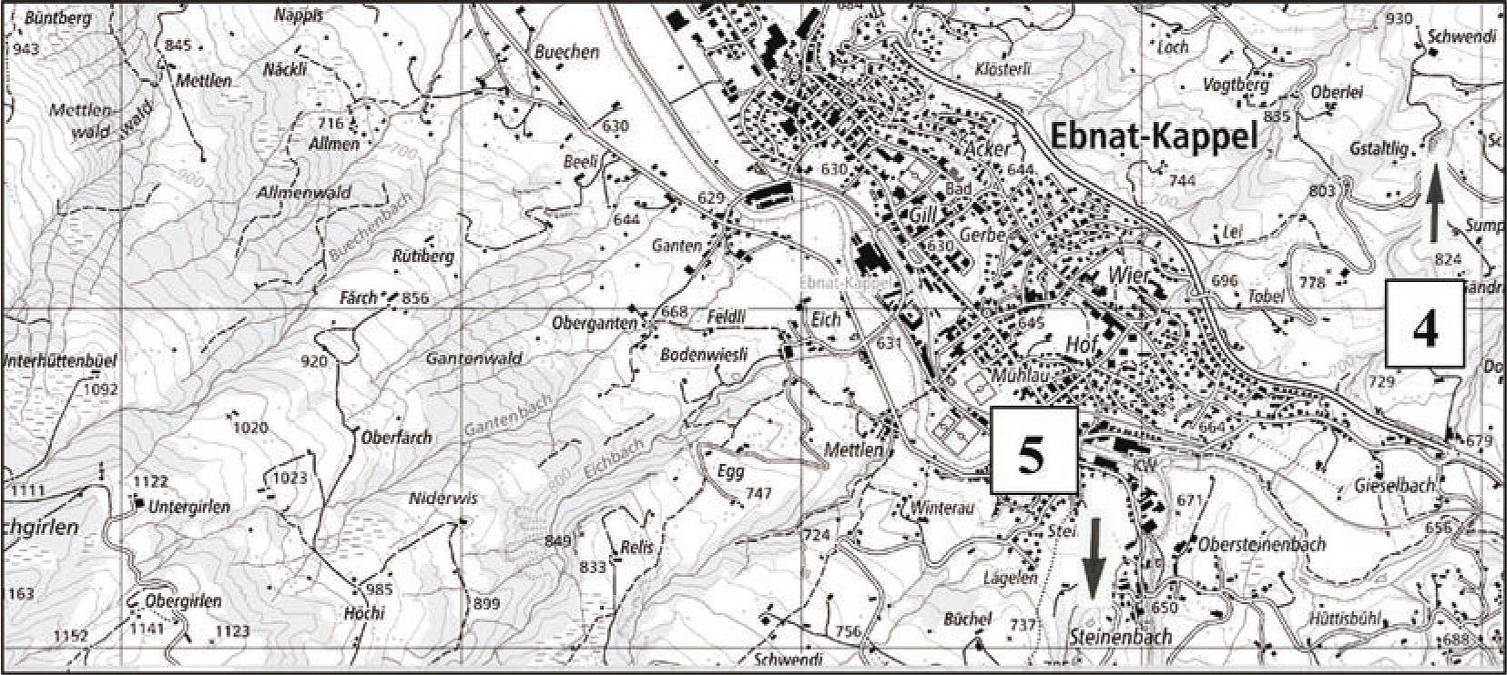 Abb. 3: Lage der Aufschlüsse in der Region Ebnat-Kappel (...)
