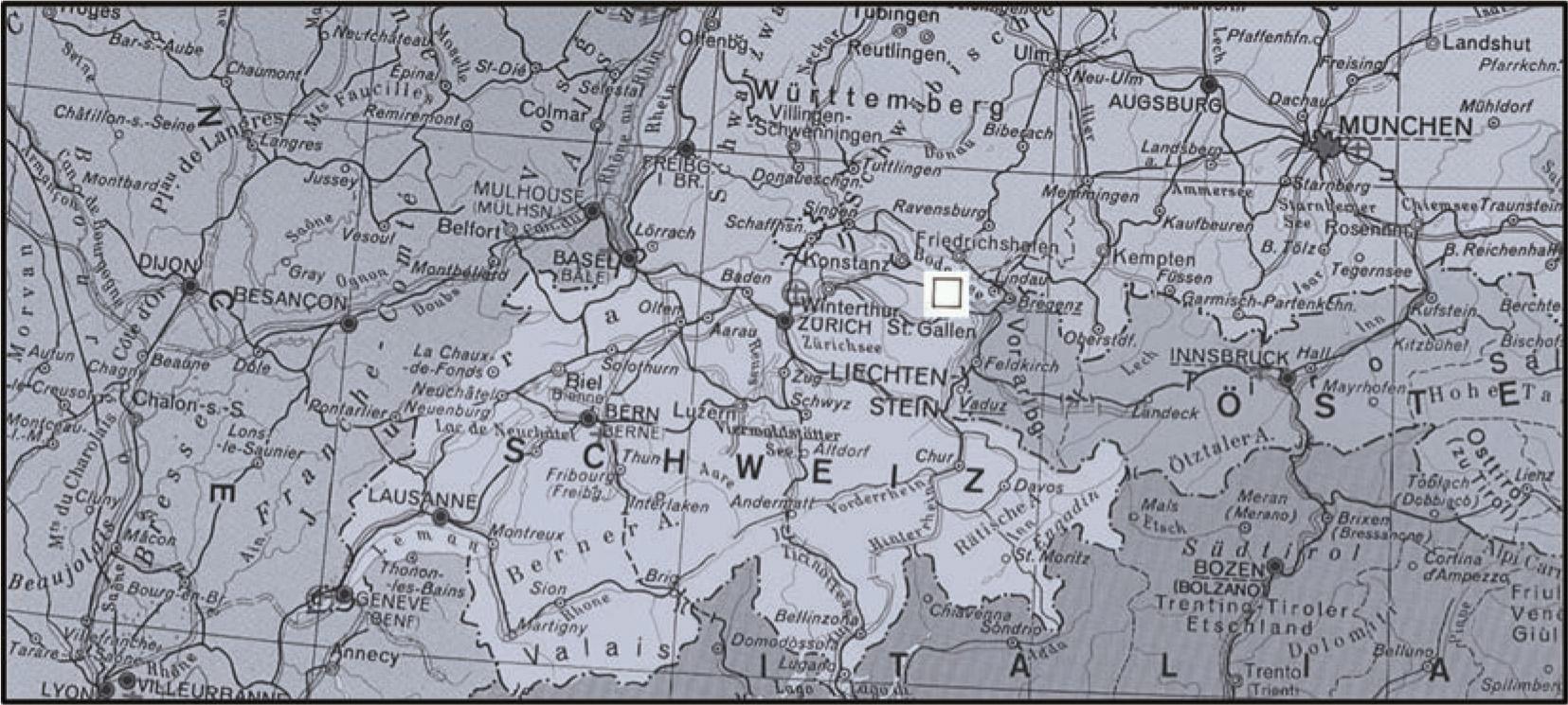 Abb. 1: Die Schweiz mit Lage der Fundgebiete im Osten bei St. Gallen (Quadrat).