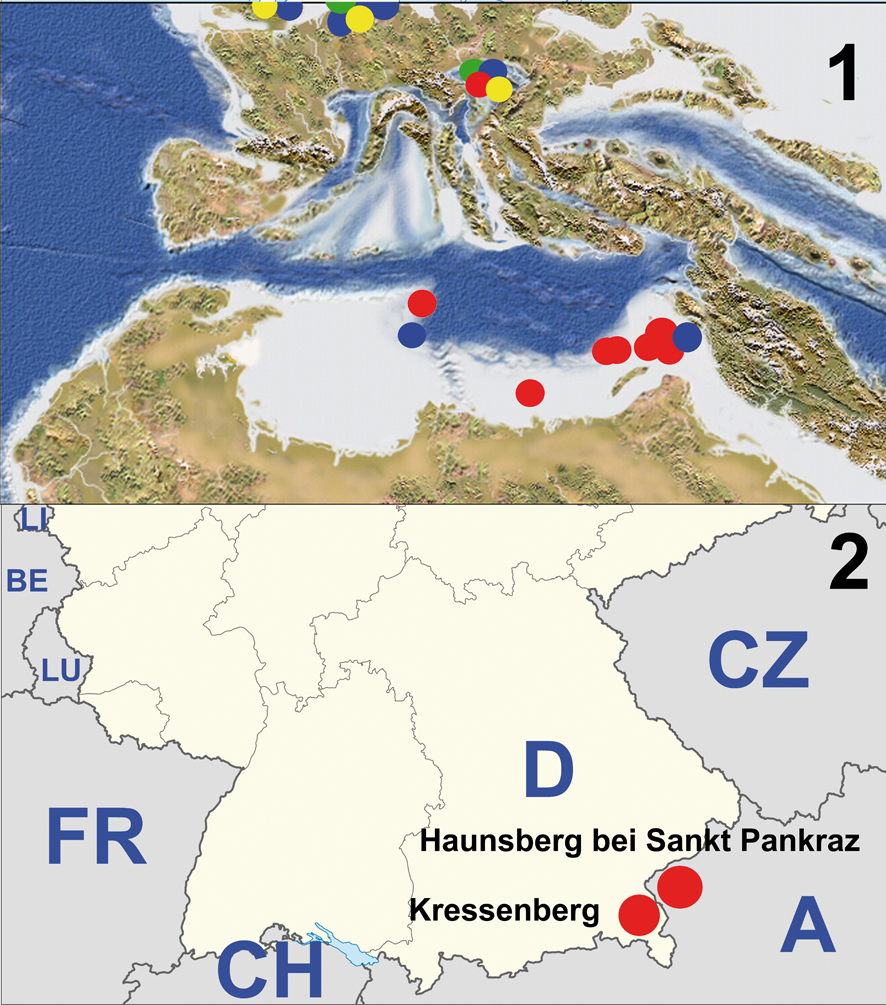 Abbildung 1, oben: Verbreitung mariner Tetrapoden in der eozänen Paratethys (...)