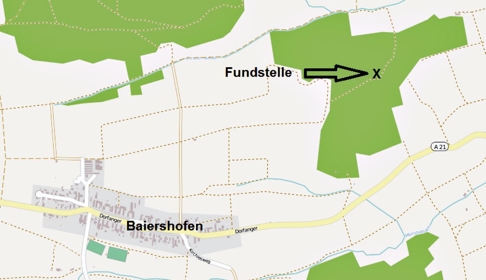 Abbildung 1. Geographische Lage der Fundstelle Baiershofen. Kartendaten: OpenStreetMap contributors.