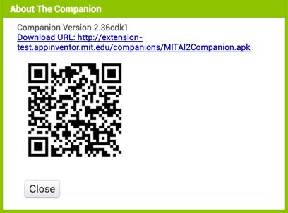 Versión de MIT AI2 Companion especial para extensiones
