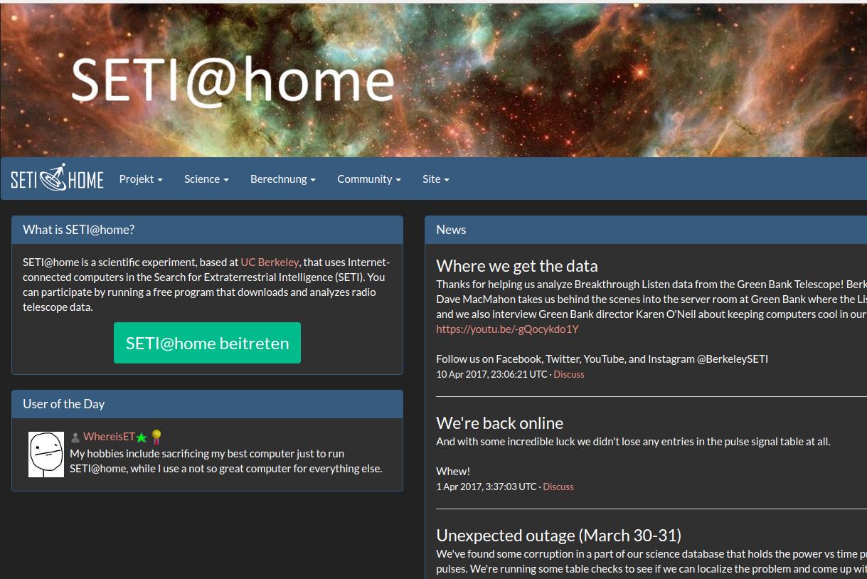 Seti@home - Radioastronomiedaten auswerten