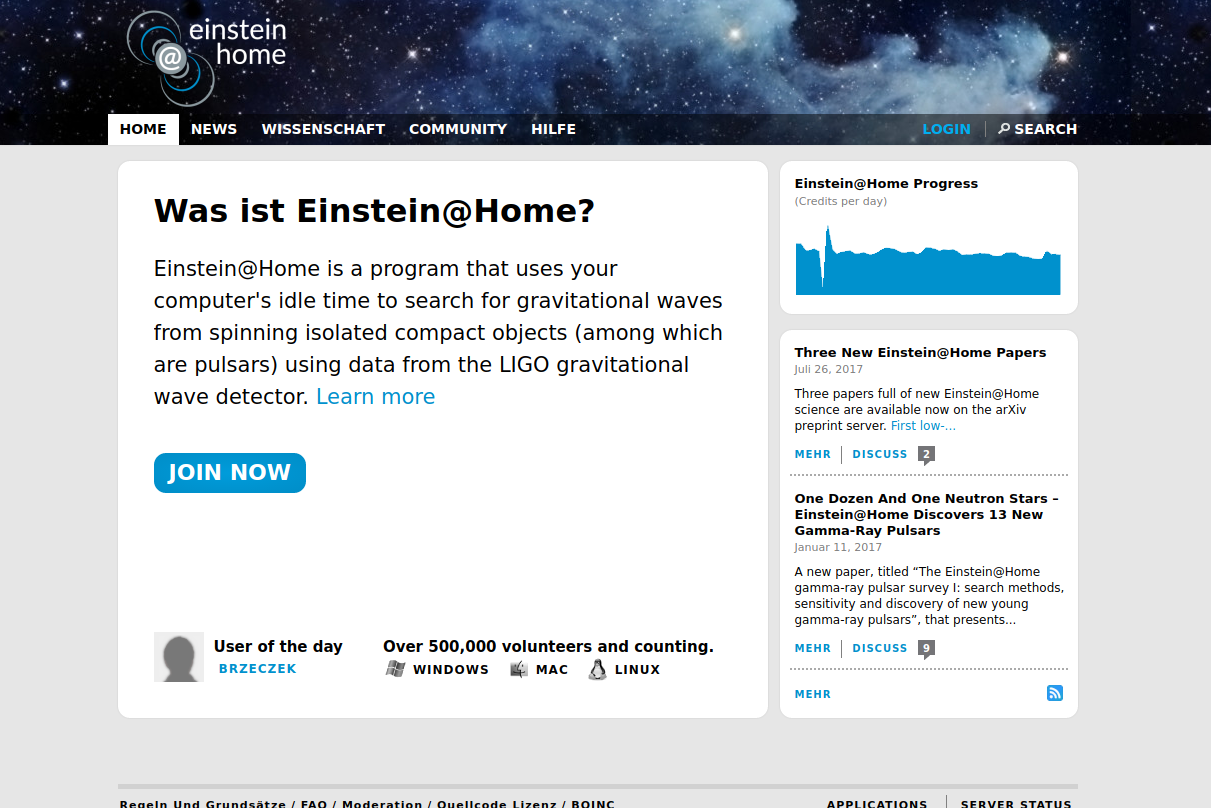 Einstein@home - Gravitationswellen auswerten