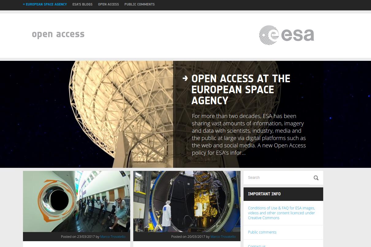 Bilder und Informationen veröffentlicht von der ESA