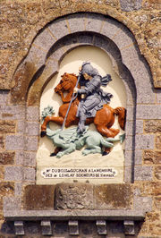 Gravure montrant saint Georges terrassant le dragon