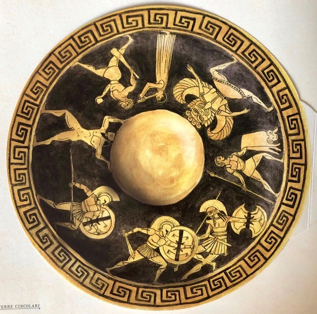 ギリシア神話を読むと、英雄ヘラクレスやイアーソーンの冒険は大変過酷で残酷な旅であったことがわかる。哲学者アナクシマンドロスは、英雄たちに敬意を込めて世界を丸型の盾にしたのかもしれない(Il libro delle Terre immaginate, E'ditions du Seuil 2008)