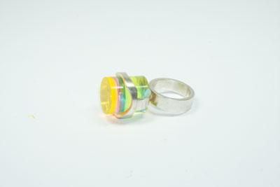 Zylinder - Ring, 935er Silber, Acrylglas fluoreszierend, 2015