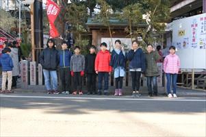 菊名神社へ合格祈願。悔いを残さないようにあと1ヶ月頑張り抜く。みな真剣!