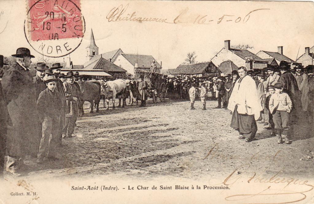 Char de Saint-Blaise tiré par des boeufs