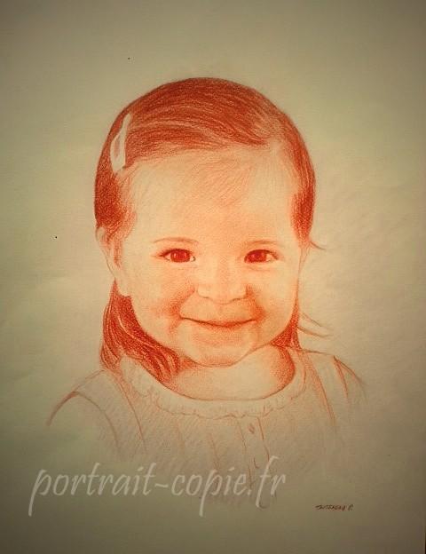 portrait dessin à la sanguine sur feuille canson teintée  de couleur crème. Réalisation  d après  une photographie.