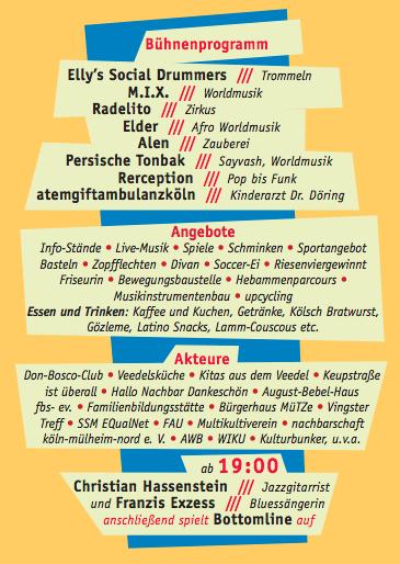 Flyer 10 Jahre Stadtteilfest nachbarschaft mülheim-nord e. v., das Bühnenprogramm