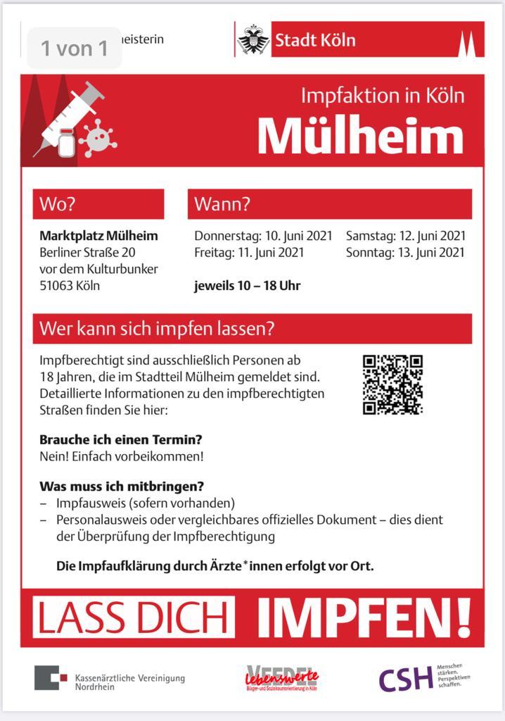 Corona Impfaktion im Stadtteil Mülheim