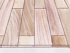 タモ 一枚もの 無垢フローリング 形状