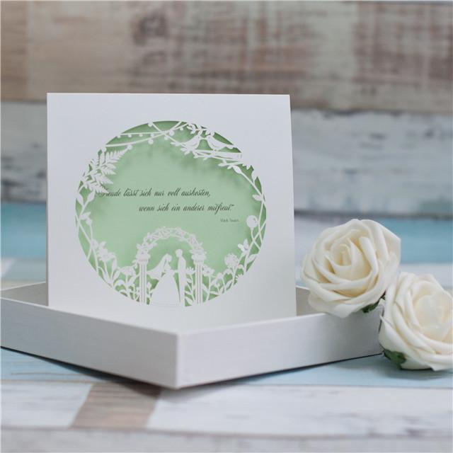 Lasercut Hochzeitskarte Wedding 3D Karte #I do mit Einleger in Green