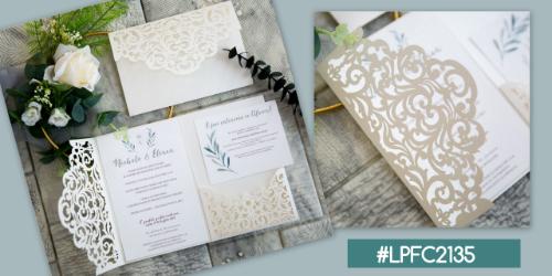 Lasercut Pocketfold Karte #LPFC2135, Ivory Shimmer