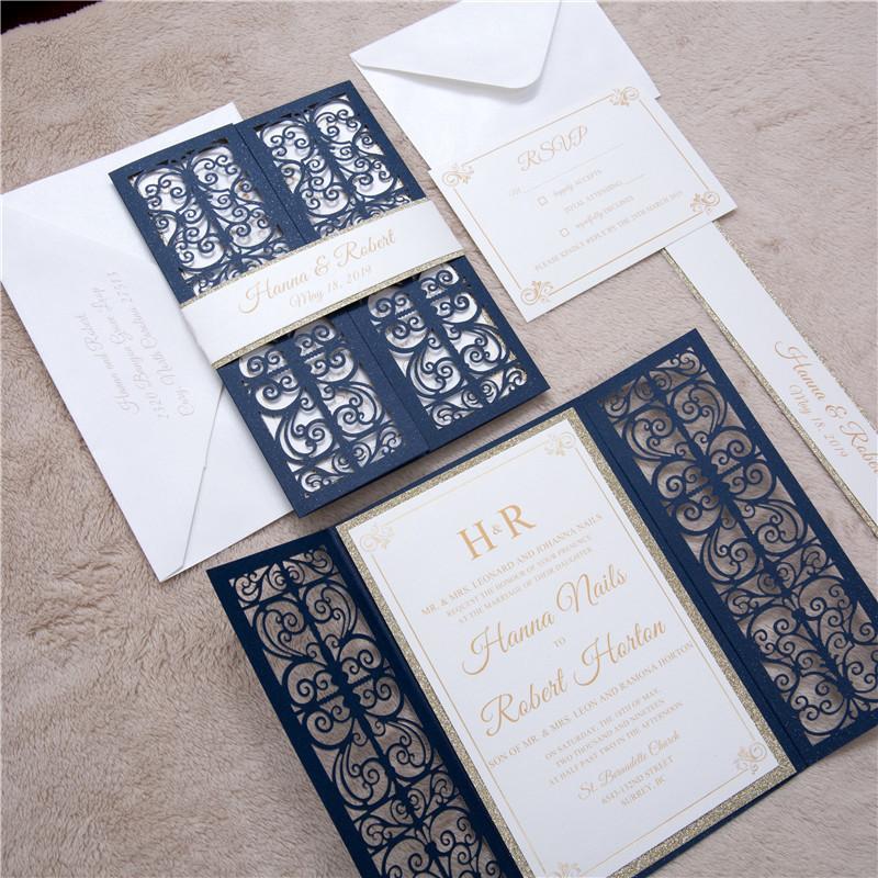 Lasercut Karte Altarfalz Hochzeitskarte Laserschnitt, Glittering Navy mit Glitter Einleger und Banderole