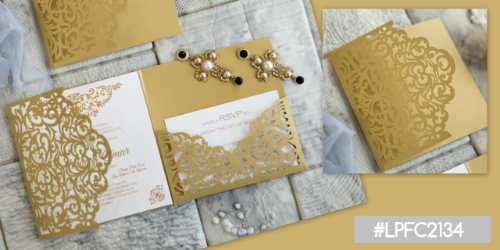 Lasercut Pocketfold Karte #LPFC2134, Metallic Gold