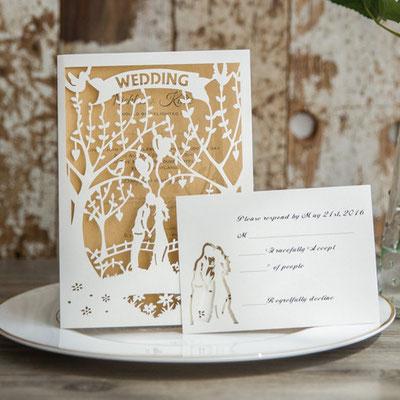 Personalisierbare Lasercut Hochzeitskarte #PB0147