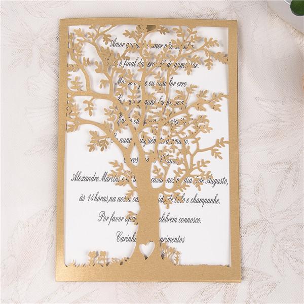 Lasercut Hochzeitseinladung Wedding Tree, Sonderfarbe Metallic Gold #A0033