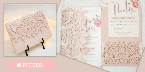 Lasercut Pocketfold Karte #LPFC2133, Blush Shimmer