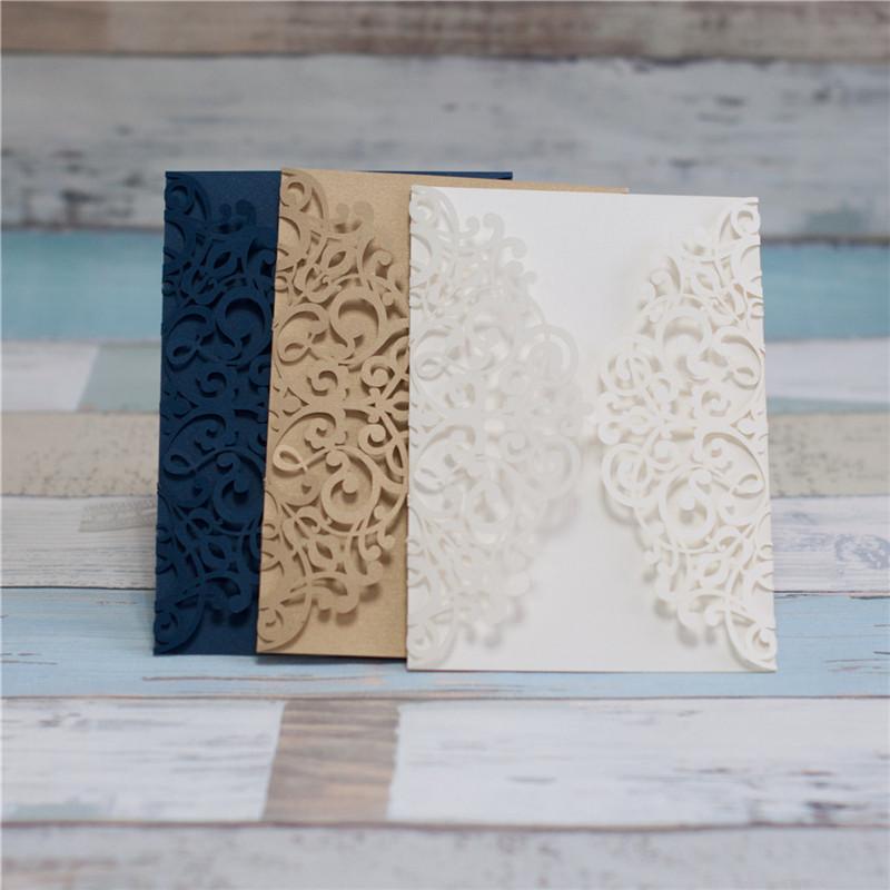 Lasercut Karte Hochzeitseinladung Altarfalz, Glittering Ivory, Metallic Gold und Glittering Navy #A0041