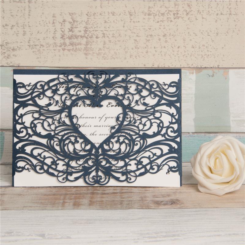 Lasercut Karte #A0077, Spitze Ornament Navy Hochzeitskarte Einladungskarte