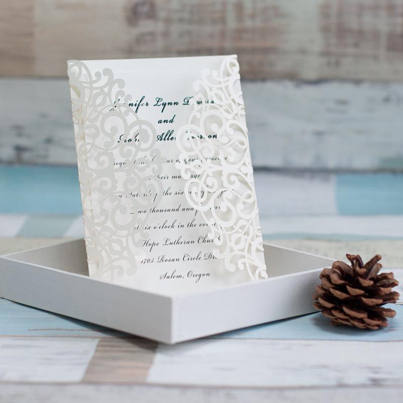 Lasercut Karte Hochzeitseinladung Altarfalz, Glittering Ivory #A0041