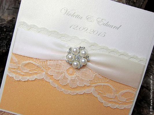 Einladungskarte mit Perlen-Brosche mit Strass Steinchen, rund #57