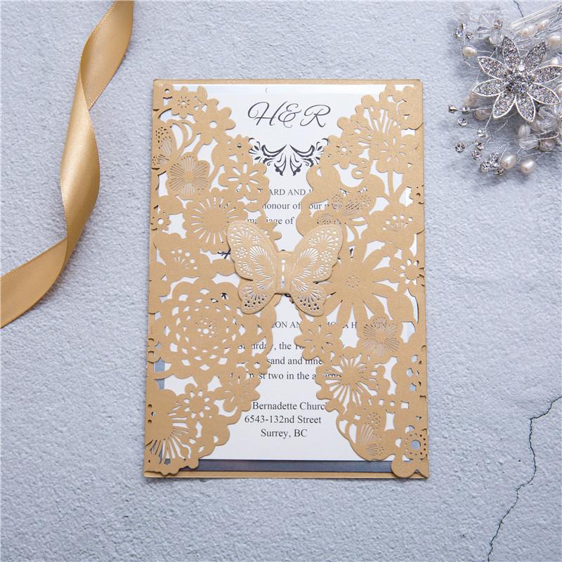 """Laseruct Karte """"Butterfly"""" #C0073, Schmetterling mit Heißfolienprägung in Silber"""