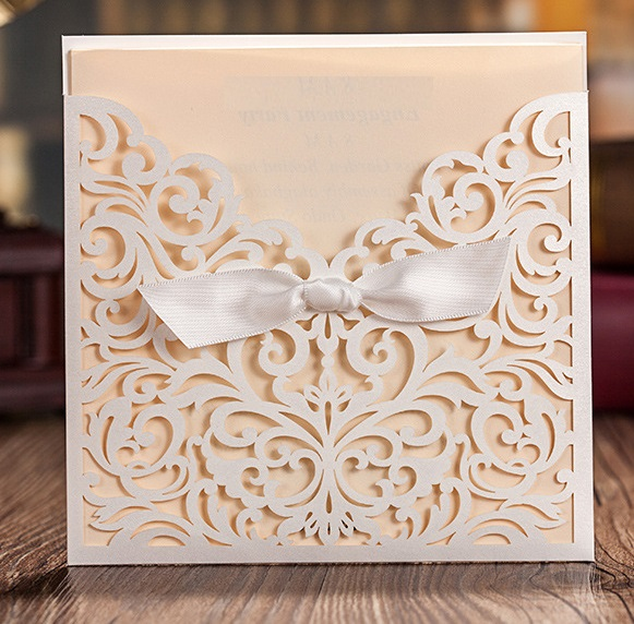 Lasercut Hochzeitskarte Pocket Tasche mit Schleife, White # B0070