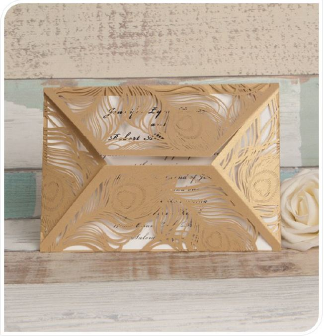 Lasercut Karte #B0037* in Metallic Gold
