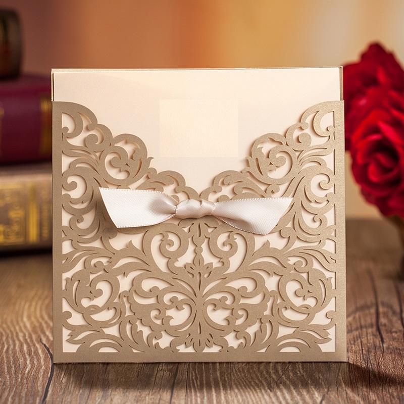 Lasercut Hochzeitskarte Pocket Tasche mit Schleife