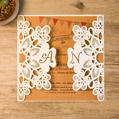 Personalisierbare Lasercut Hochzeitskarte #PB0146
