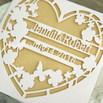 Personalisierbare Lasercut Hochzeitskarte #PB0142
